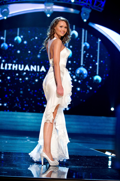 Description of . Miss Lithuania 2012 Greta Mikalauskyte competes in an evening gown of her choice during the Evening Gown Competition of the 2012 Miss Universe Presentation Show in Las Vegas, Nevada, December 13, 2012. The Miss Universe 2012 pageant will be held on December 19 at the Planet Hollywood Resort and Casino in Las Vegas. REUTERS/Darren Decker/Miss Universe Organization L.P/Handout