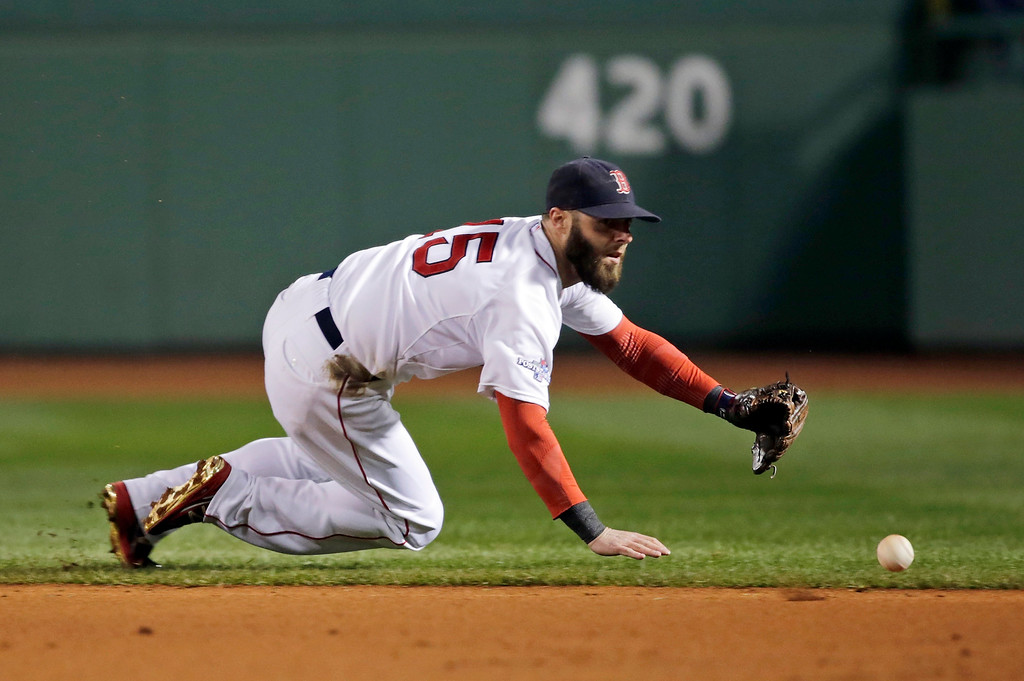 Description of . Boston Red Sox second baseman Dustin Pedroia dives to the ball hit by Detroit Tigers' Austin Jackson in the third inning during Game 2 of the American League baseball championship series Sunday, Oct. 13, 2013, in Boston. Pedroia throws out Jackson at first base in this play. (AP Photo/Charles Krupa)