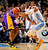Andre Iguodala #9 of the Denver Nuggets knocks the ball away from Kobe Bryant #24 of the Los Angeles Lakers at the Pepsi Center on February 25, 2013 in Denver, Colorado. NOTE TO USER: User expressly acknowledges and agrees that, by downloading and or using this photograph, User is consenting to the terms and conditions of the Getty Images License Agreement.  (Photo by Doug Pensinger/Getty Images)