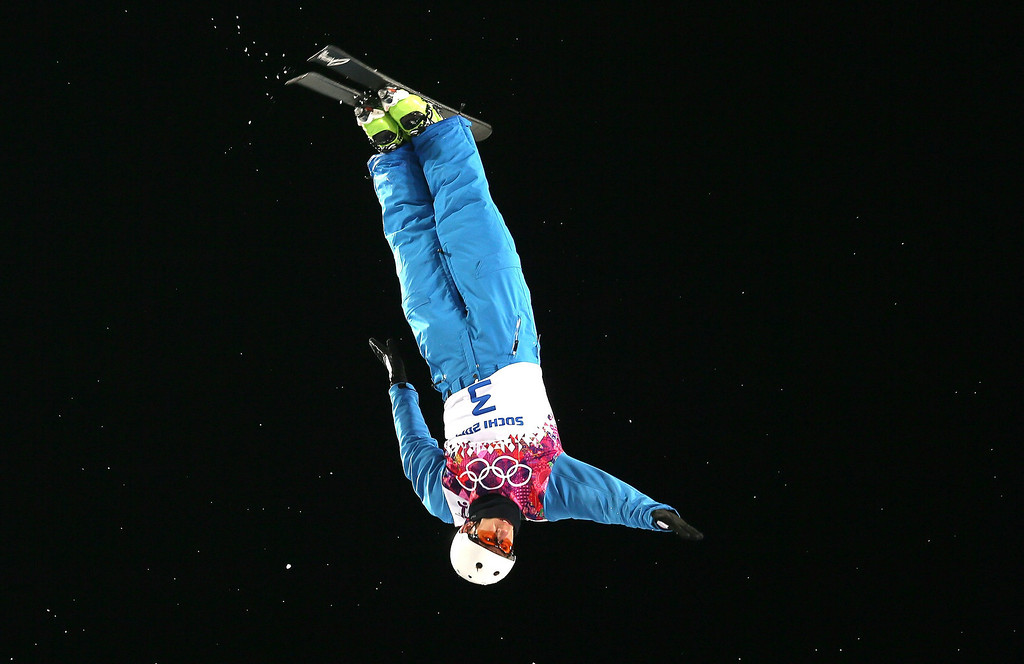 Description of . Gold medalist Anton Kushnir of Belarus   in action during the Men's Freestyle Skiing Aerials Final at the Rosa Khutor Extreme Park during the Sochi 2014 Olympic Games, Krasnaya Polyana, Russia, on Feb. 17, 2014. EPA/SERGEY ILNITSKY