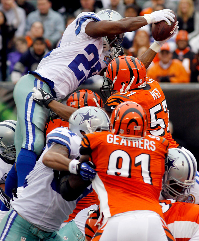 Description of . Dallas Cowboys running back DeMarco Murray (29) dives over the goal line for a 1-yard touchdown run in the first half of an NFL football game against the Cincinnati Bengals, Sunday, Dec. 9, 2012, in Cincinnati. (AP Photo/Tom Uhlman)
