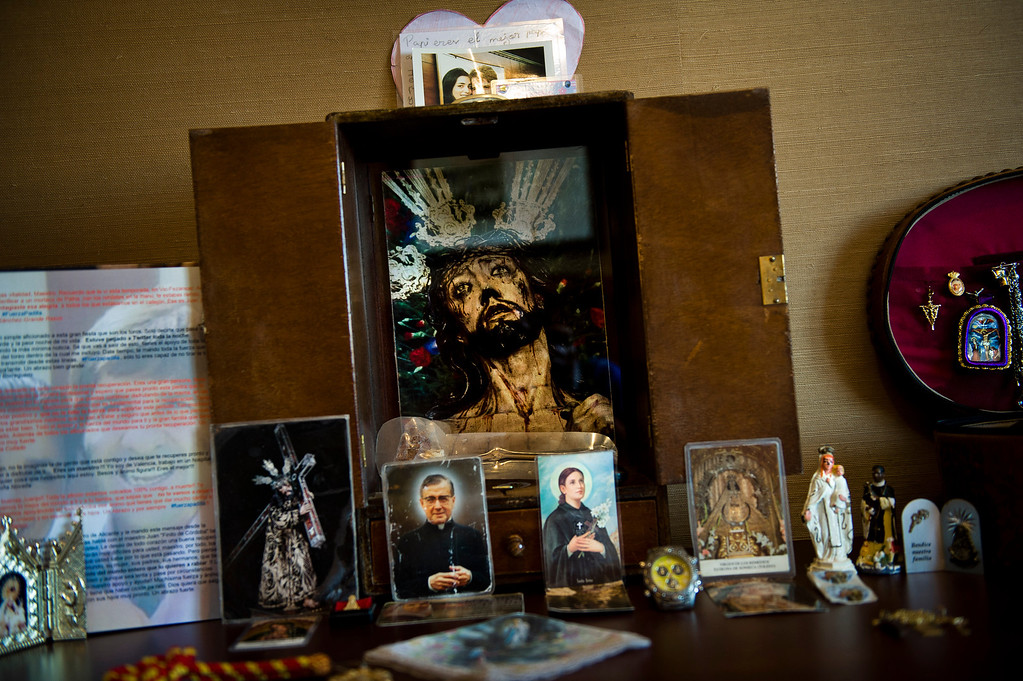 Description of . In this July 1, 2012 photo, Spanish bullfighter Juan Jose Padilla's chapel is seen at his hotel room in Soria. This photo is one in a series of images by Associated Press photographer Daniel Ochoa de Olza that won the second place prize for the Observed Portrait series category in the World Press Photo 2013 photo contest.  (AP Photo/Daniel Ochoa de Olza, File)