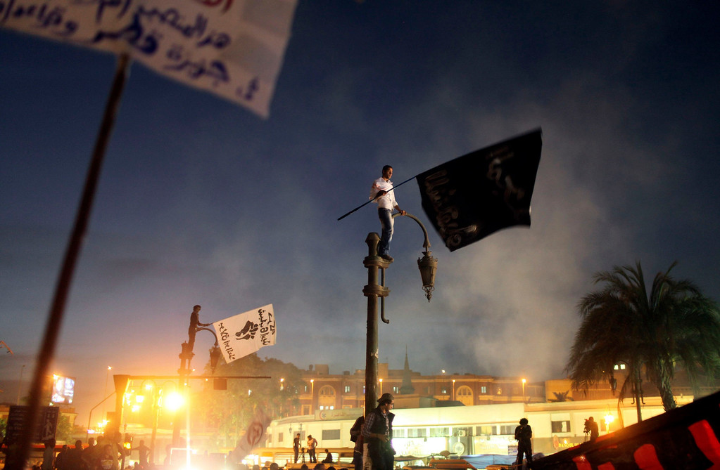 Description of . A protester stands on a streetlamp as he waves a banner reading,