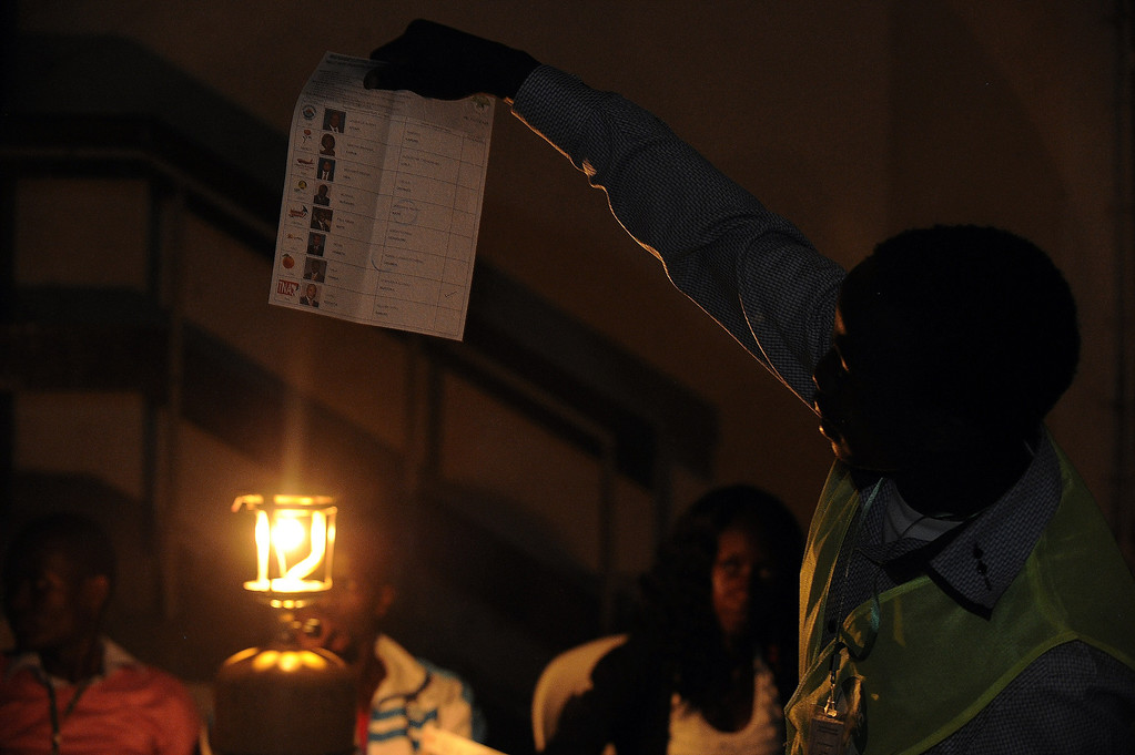 Description of . A presiding officer from the Independent Electoral and Boundaries Commission (IEBC) holds a ballot after emptying the box for counting at the South C polling station in Nairobi on March 4, 2013, the day of the Kenyan national elections. Long lines of Kenyans queued from long before dawn to vote Monday in the first election since violence-wracked polls five years ago, with a deadly police ambush marring the key ballot. The tense elections -- and the all-important reception of the results -- are seen as a crucial test for Kenya, with leaders vowing to avoid a repeat of the bloody 2007-8 post-poll violence in which over 1,100 people were killed.     SIMON MAINA/AFP/Getty Images