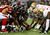 The Atlanta Falcons prepare to snap the ball against the San Francisco 49ers in the NFC Championship game at the Georgia Dome on January 20, 2013 in Atlanta, Georgia.  (Photo by Mike Ehrmann/Getty Images)