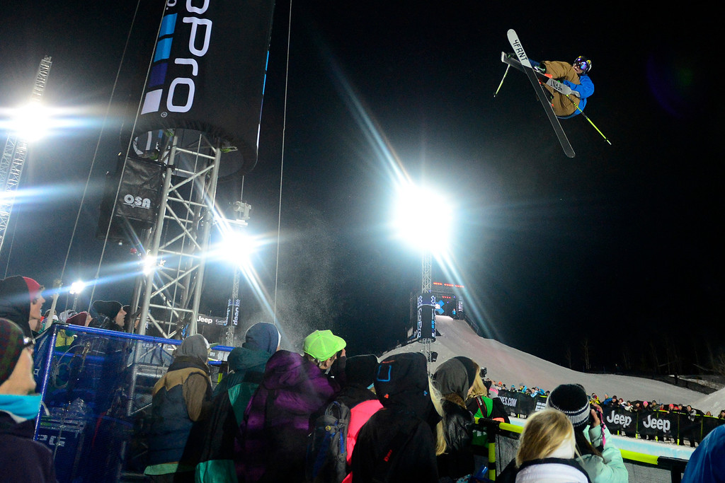 Description of . ASPEN, CO. - JANUARY 24: David WIse grabs air during the men's ski superpipe final. X Games Aspen Buettermilk Mountain Aspen January 25, 2013 (Photo By AAron Ontiveroz / The Denver Post)
