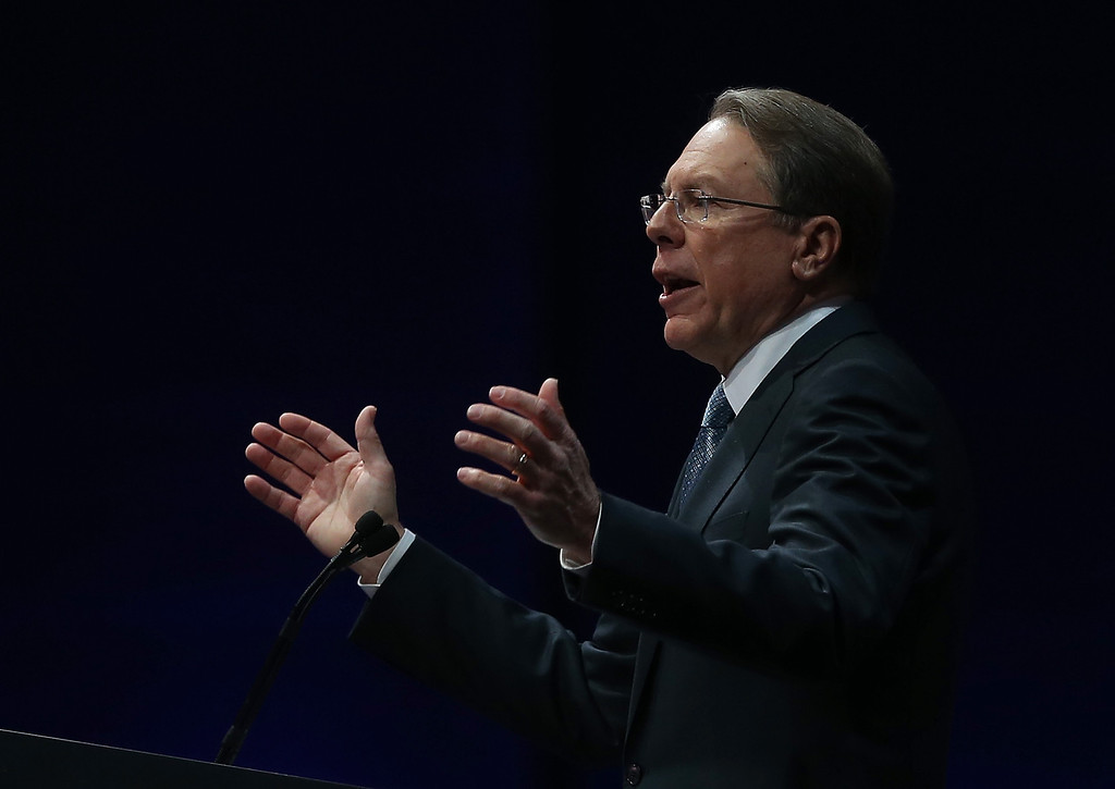 Description of . HOUSTON, TX - MAY 03:  NRA executive vice president Wayne LaPierre speaks during the 2013 NRA Annual Meeting and Exhibits at the George R. Brown Convention Center on May 3, 2013 in Houston, Texas.  More than 70,000 peope are expected to attend the NRA's 3-day annual meeting that features nearly 550 exhibitors, gun trade show and a political rally. The Show runs from May 3-5.  (Photo by Justin Sullivan/Getty Images)