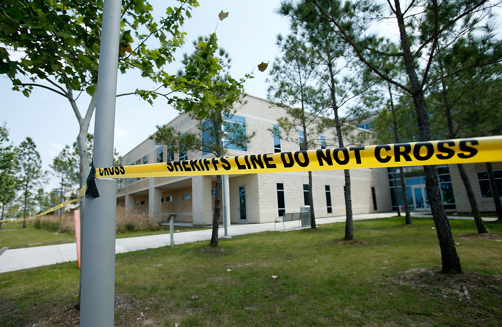 Description of . Police tape seals off an area after at least 14 people were injured in a stabbing incident at the Cy-Fair campus of Lone Star College on April 9, 2013 in Cypress, Texas.  (Photo by Scott Halleran/Getty Images)