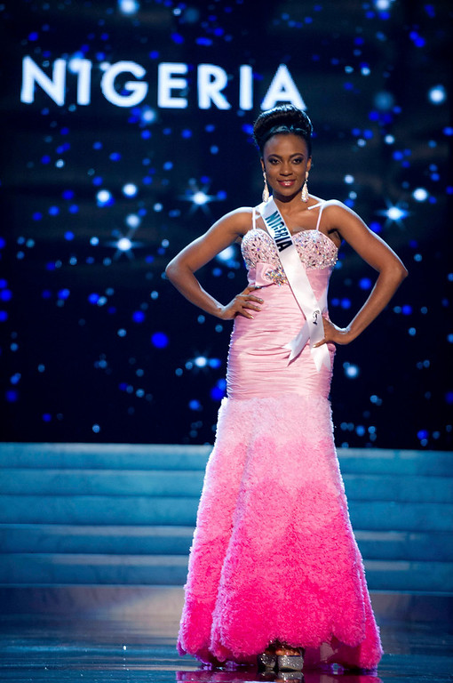 Description of . Miss Nigeria 2012 Isabella Agbor Ojong Ayuk competes in an evening gown of her choice during the Evening Gown Competition of the 2012 Miss Universe Presentation Show in Las Vegas, Nevada, December 13, 2012. The Miss Universe 2012 pageant will be held on December 19 at the Planet Hollywood Resort and Casino in Las Vegas. REUTERS/Darren Decker/Miss Universe Organization L.P/Handout