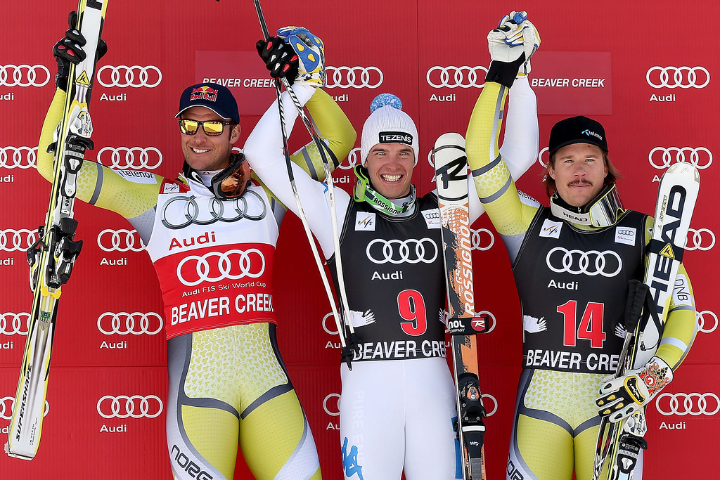 Description of . Aksel Lund Swindal #14 of Norway, Christof Innerhofer #9 of Italy and Kjetil Jansrud #14 of Norway pose for photographers on the winer's podium during the men's downhill on the Birds of Prey at the Audi FIS World Cup on November 30, 2012 in Beaver Creek, Colorado.  (Photo by Matthew Stockman/Getty Images)