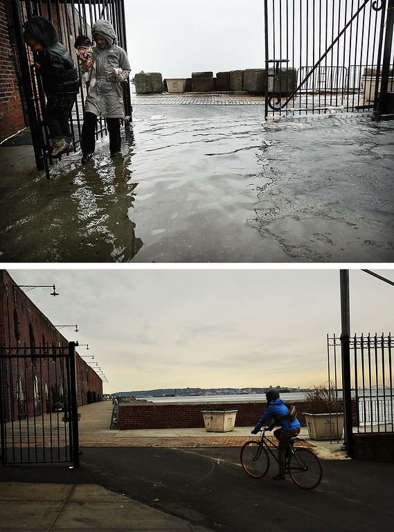 Description of . NEW YORK, NY - OCTOBER 29:  (top) A woman and child walk through water on a flooded street as Hurricane Sandy moved closer to the area on October 29, 2012 in the Red Hook section of the Brooklyn borough of New York City. NEW YORK, NY - OCTOBER 23:  (bottom)  A person rides a bike October 23, 2013 in the Red Hook section of the Brooklyn borough of New York City. Hurricane Sandy made landfall on October 29 near Brigantine, New Jersey and affected 24 states from Florida to Maine and cost the country an estimated $65 billion.  (Photos by Spencer Platt/Getty Images)