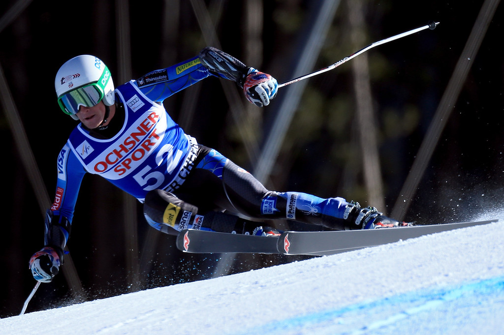 Description of . Brennan Rubie of the USA skis to 27th place in the men\'s Super G on the Birds of Prey at the Audi FIS World Cup on December 1, 2012 in Beaver Creek, Colorado.  (Photo by Doug Pensinger/Getty Images)