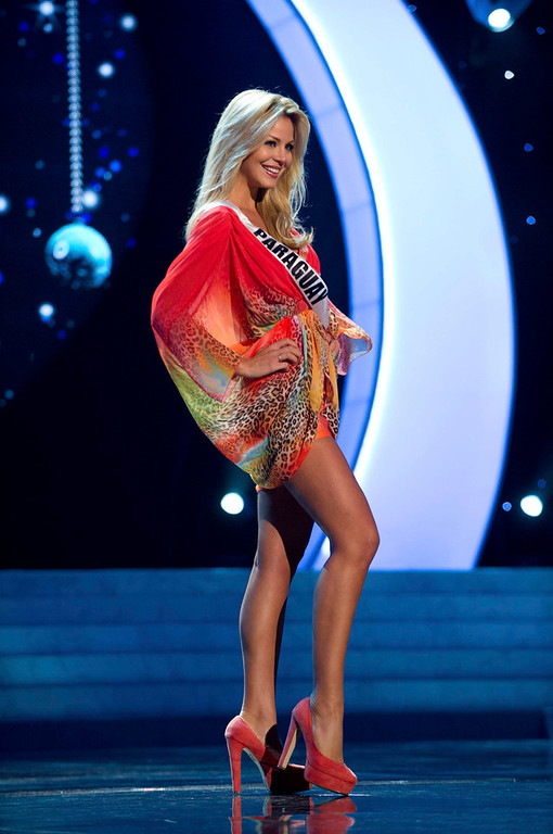 Description of . Miss Paraguay 2012, Egni Eckert, rehearses for the 2012 Miss Universe Presentation Show in Las Vegas, Nevada, December 13, 2012.  The Miss Universe 2012 pageant will be held on December 19, 2012 at the Planet Hollywood Resort and Casino in Las Vegas. REUTERS/Darren Decker/Miss Universe Organization L.P/Handout