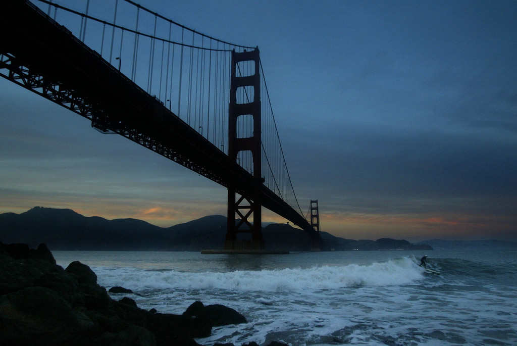 Description of . General view of the Southern footing of the Golden Gate Bridge, Fort Point, San Francisco on November 17, 2002. Surfers congregate daily to surf at Fort Point and battle the harsh and dangerous conditions. (Photo by Daniel Berehulak/Getty Images)