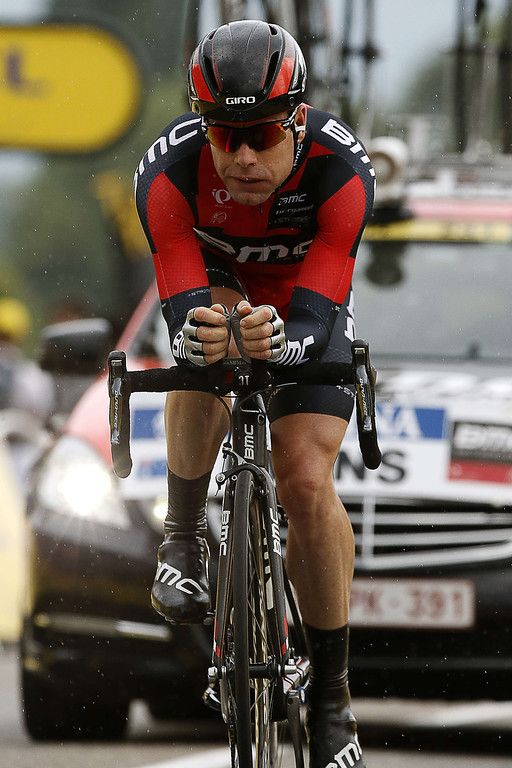 Description of . Australia's Cadel Evans sprints before the finish line at the end of the 32 km individual time-trial and seventeenth stage of the 100th edition of the Tour de France cycling race on July 17, 2013 between Embrun and Chorges, southeastern France.  AFP PHOTO / PASCAL GUYOTPASCAL GUYOT/AFP/Getty Images