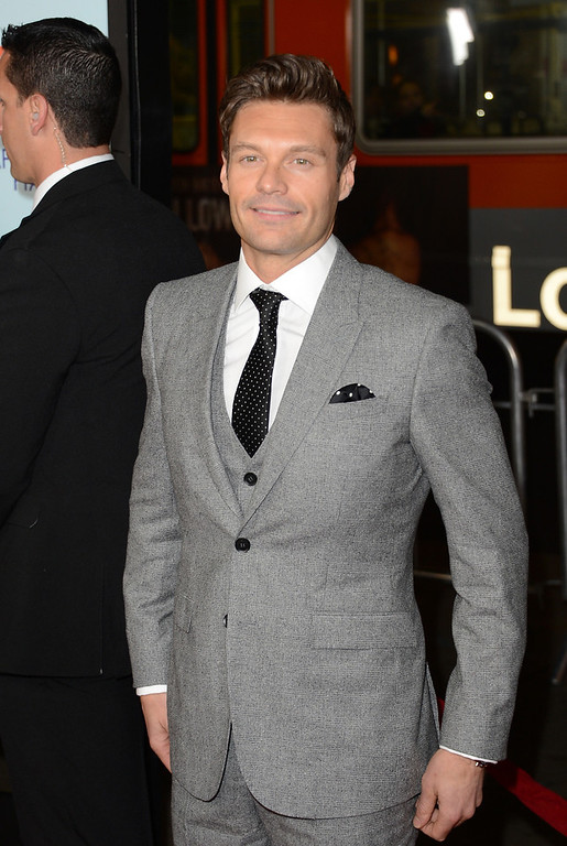 Description of . Ryan Seacrest arrives at the premiere of Relativity Media's 'Safe Haven' at TCL Chinese Theatre on February 5, 2013 in Hollywood, California.  (Photo by Jason Merritt/Getty Images)