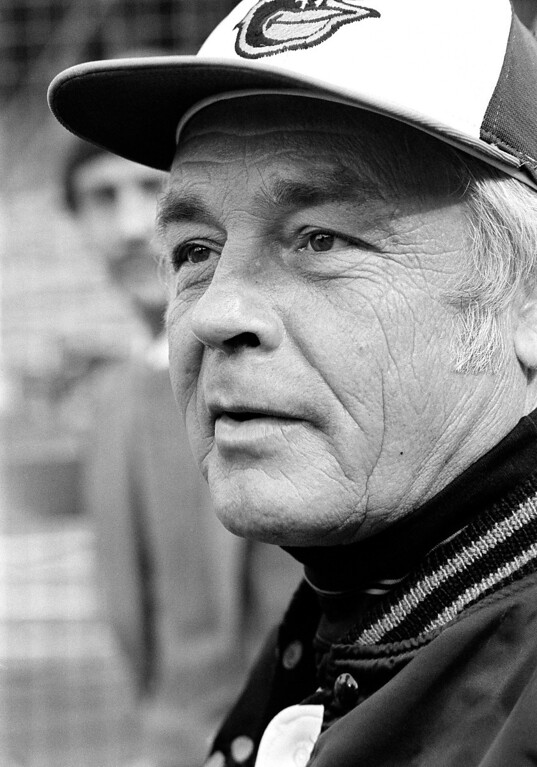 Description of . In this Wednesday, Oct. 11, 1979 file photo, manager Earl Weaver speaks to reporters outside the Baltimore Orioles' dugout just before the second game of World Series against Pittsburgh Pirates in Baltimore. Weaver, the Hall of Fame manager who won 1,480 games with the Baltimore Orioles died Jan. 19, 2013. He was 82. (AP Photo/File)