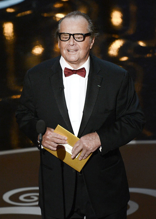 Description of . Actor Jack Nicholson presents the Best Picture award onstage during the Oscars held at the Dolby Theatre on February 24, 2013 in Hollywood, California.  (Photo by Kevin Winter/Getty Images)