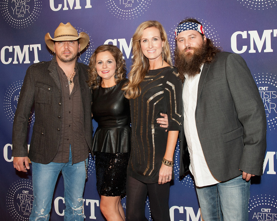Description of . Jason Aldean, Jessica Ussery Aldean, Korie Robertson and Willie Robertson attend the 2012 CMT