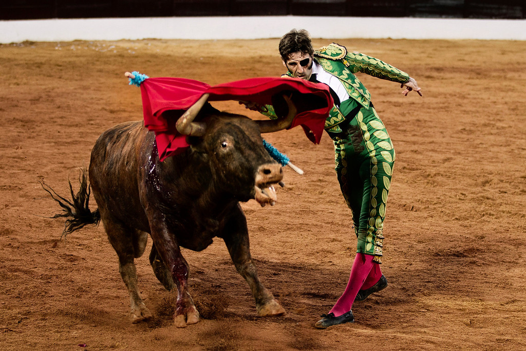 Description of . In this March 4, 2012 photo, Spanish bullfighter Juan Jose Padilla performs during a bullfight in the southwestern Spanish town of Olivenza. This photo is one in a series of images by Associated Press photographer Daniel Ochoa de Olza that won the second place prize for the Observed Portrait series category in the World Press Photo 2013 photo contest.  (AP Photo/Daniel Ochoa de Olza, File)