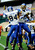 San Jose State wide receivers Kyle Nunn (19) and Sean Linton (84) celebrate Nunn's touchdown against Bowling Green during the first half of the Military Bowl NCAA college football game, Thursday, Dec. 27, 2012, in Washington. (AP Photo/Nick Wass)