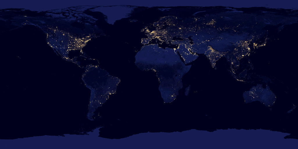 Description of . Lights across the earth are pictured in this NASA handout satellite image obtained by Reuters December 5, 2012. This new image of the Earth at night is a composite assembled from data acquired by the Suomi National Polar-orbiting Partnership (Suomi NPP) satellite over nine days in April 2012 and thirteen days in October 2012. It took 312 orbits and 2.5 terabytes of data to get a clear shot of every parcel of Earth's land surface and islands.  REUTERS/NASA/Handout.