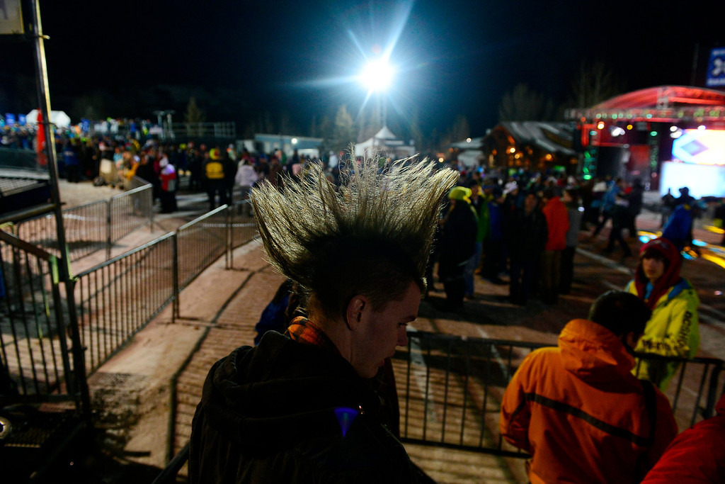 Description of . ASPEN, CO. - JANUARY 24: Matt Vorse, of Grand Junction rocks a mohawk during the men\'s ski superpipe final. X Games Aspen Buettermilk Mountain Aspen January 25, 2013 (Photo By AAron Ontiveroz / The Denver Post)