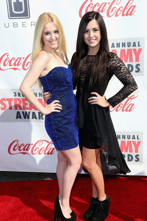 Description of . Singers  Liz Mace and Megan Mace attend the 3rd Annual Streamy Awards at Hollywood Palladium on February 17, 2013 in Hollywood, California.  (Photo by Frederick M. Brown/Getty Images)