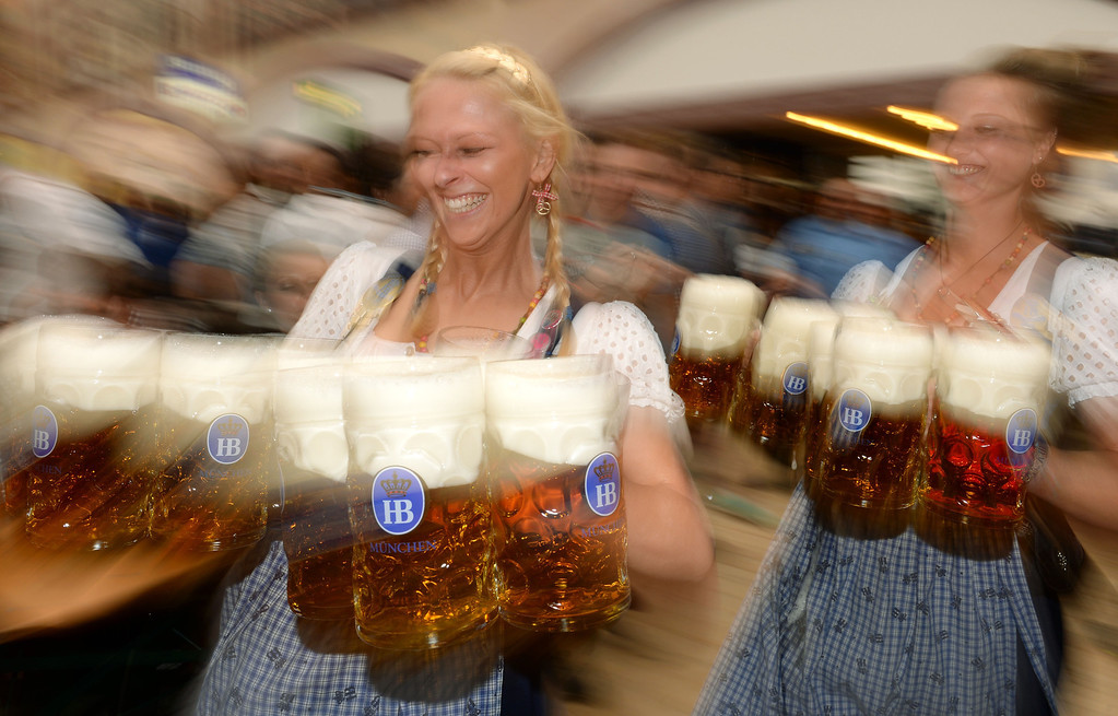 Description of . Waitresses serve beer during the opening of the Oktoberfest beer festival at the Theresienwiese in Munich, southern Germany, on September 21, 2013. The world's biggest beer festival Oktoberfest will run until October 6, 2013.  AFP PHOTO / CHRISTOF STACHE/AFP/Getty Images