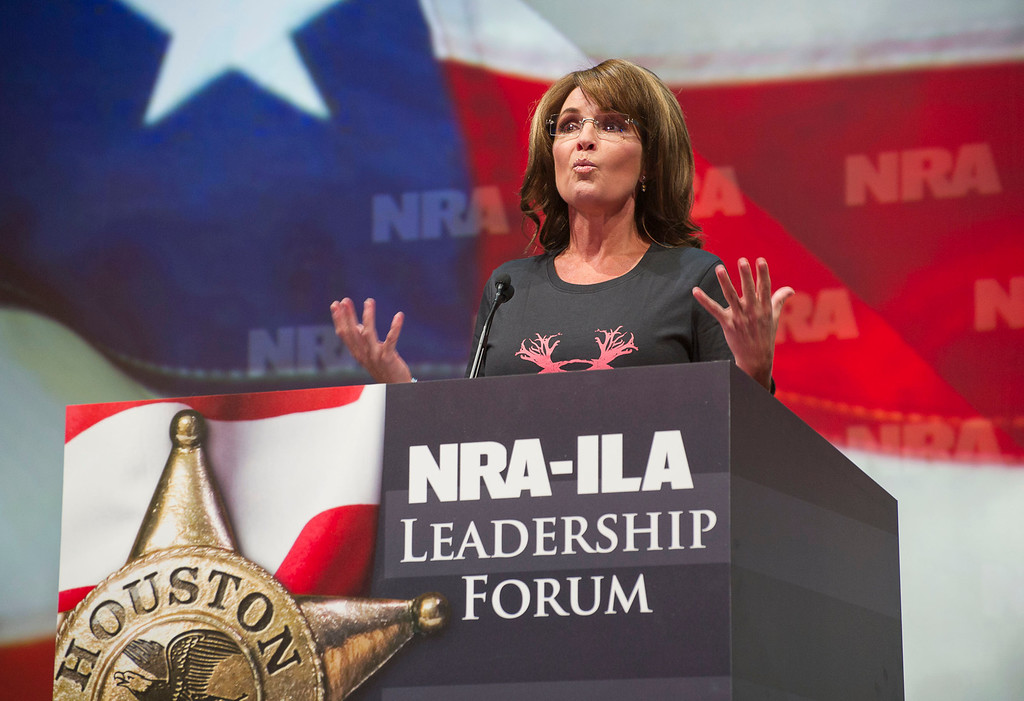 Description of . Former Alaska Gov. Sarah Palin speaks during the leadership forum at the National Rifle Association's annual meeting Friday, May 3, 2013 in Houston. (AP Photo/Steve Ueckert)