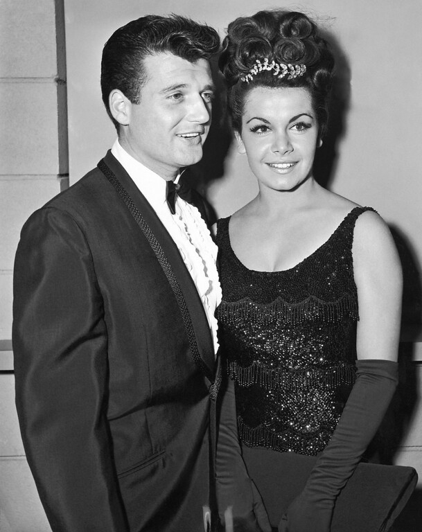 Description of . Actress Annette Funicello, a member of the Disney Mousketeers in her younger days, poses with her husband-to-be, her manager, Jack Gilardi in Hollywood on Nov. 17, 1964. Annette says they'll be married on January 9. (AP Photo)