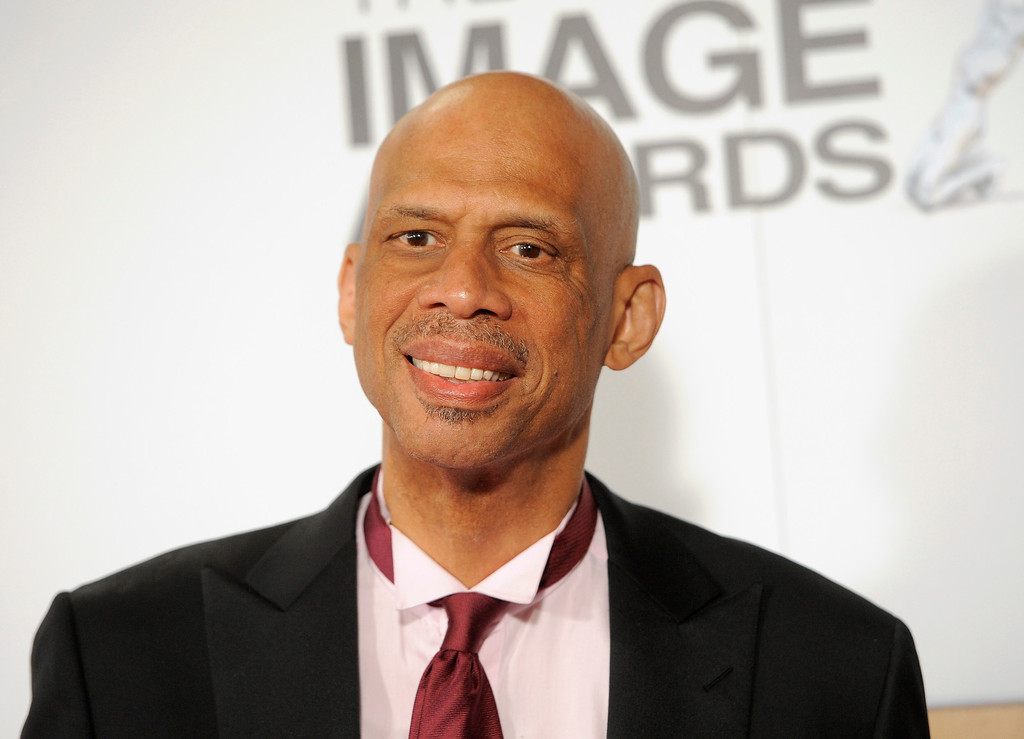 Description of . Kareem Abdul-Jabbar arrives at the 44th Annual NAACP Image Awards at the Shrine Auditorium in Los Angeles on Friday, Feb. 1, 2013. (Photo by Chris Pizzello/Invision/AP)