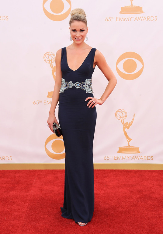 Description of . Katrina Bowden  arrives at the 65th Primetime Emmy Awards at Nokia Theatre on Sunday Sept. 22, 2013, in Los Angeles.  (Photo by Jordan Strauss/Invision/AP)