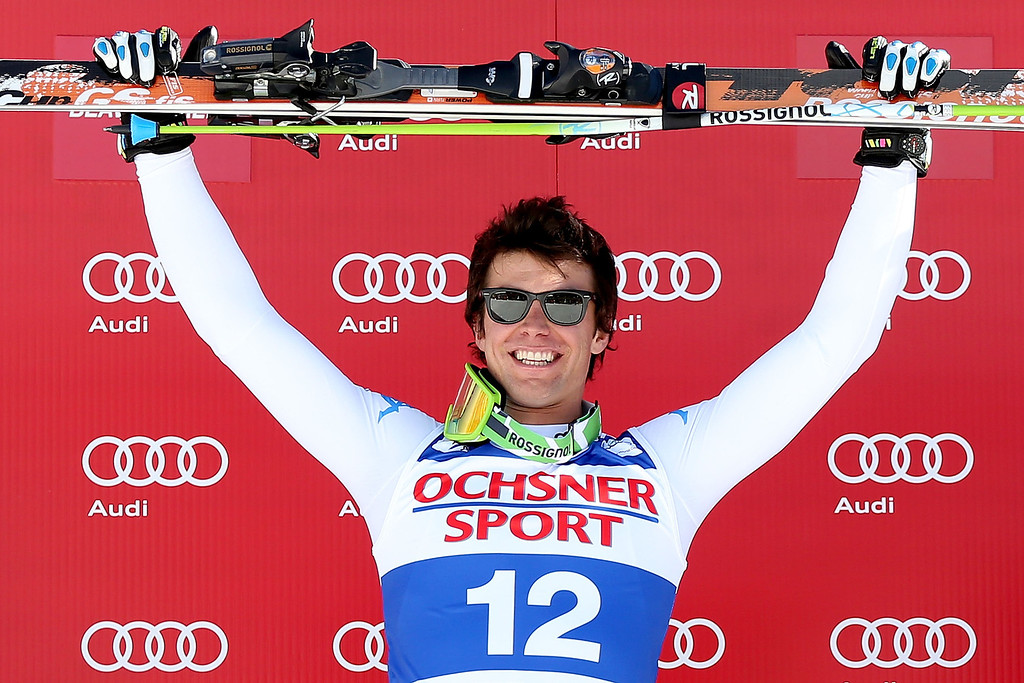 Description of . Matteo Marsaglia #12 of Italy celebrates on the winner\'s podium during the men\'s Super G on the Birds of Prey at the Audi FIS World Cup on December 1, 2012 in Beaver Creek, Colorado.  (Photo by Matthew Stockman/Getty Images)