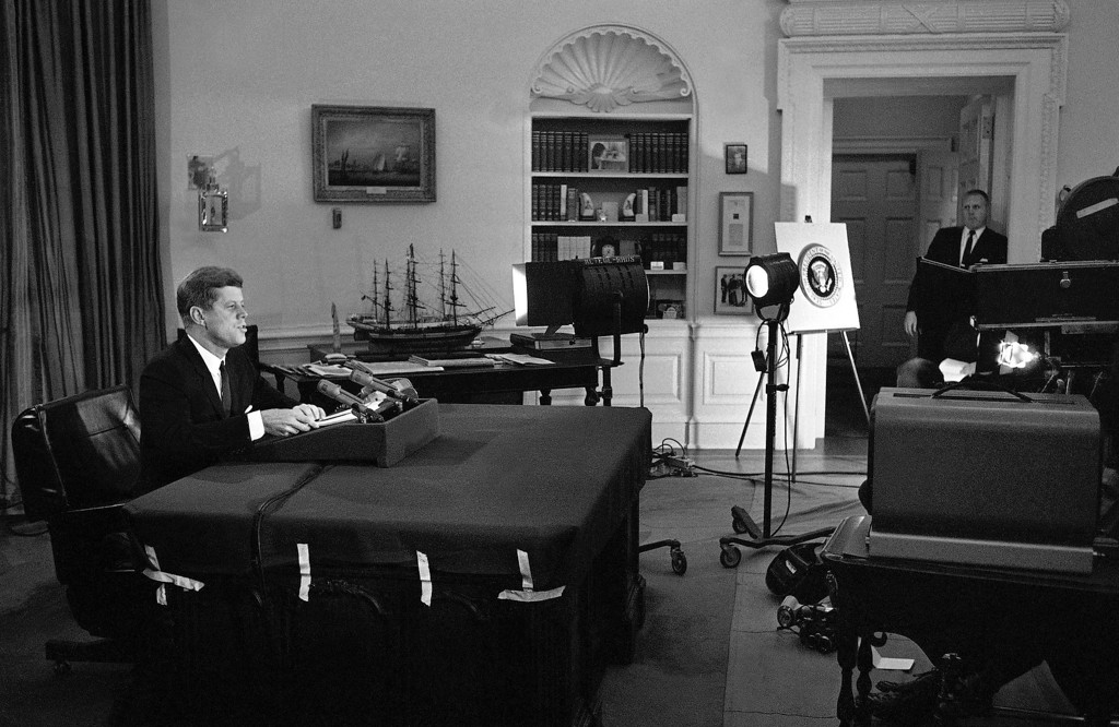 Description of . Kennedy announces the U.S. naval blockade of Cuba from the Oval Office Oct.  22, 1962, Associated Press file/WOA