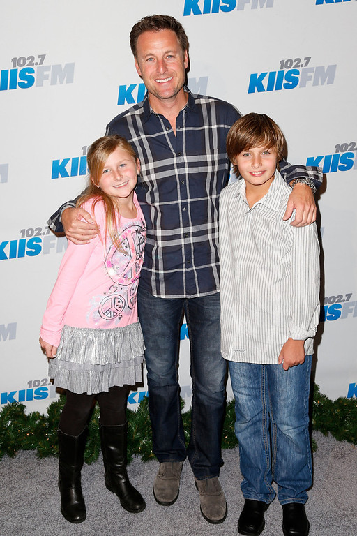 Description of . TV personality Chris Harrison and his kids attend KIIS FM's 2012 Jingle Ball at Nokia Theatre L.A. Live on December 3, 2012 in Los Angeles, California.  (Photo by Imeh Akpanudosen/Getty Images)