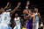 Steve Nash #10 of the Los Angeles Lakers looks to pass the ball against the defense of Kenneth Faried #35, Ty Lawson #3, Jordan Hamilton #1 and JaVale McGee #34 of the Denver Nuggets at the Pepsi Center on February 25, 2013 in Denver, Colorado. NOTE TO USER: User expressly acknowledges and agrees that, by downloading and or using this photograph, User is consenting to the terms and conditions of the Getty Images License Agreement.  (Photo by Doug Pensinger/Getty Images)