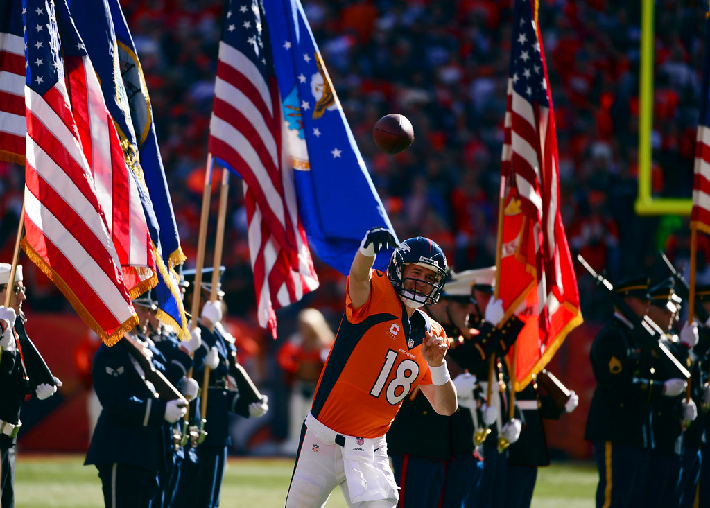 Description of . Denver Broncos quarterback Peyton Manning (18) warms up prior to the start of the game.  The Denver Broncos vs. The New England Patriots in an AFC Championship game  at Sports Authority Field at Mile High in Denver on January 19, 2014. (Photo by Helen Richardson/The Denver Post)