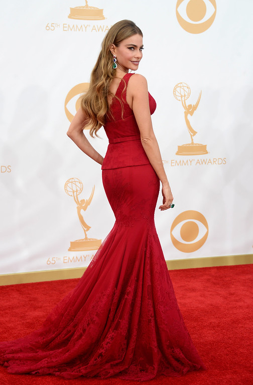 Description of . Actress Sofia Vergara arrives at the 65th Annual Primetime Emmy Awards held at Nokia Theatre L.A. Live on September 22, 2013 in Los Angeles, California.  (Photo by Frazer Harrison/Getty Images)