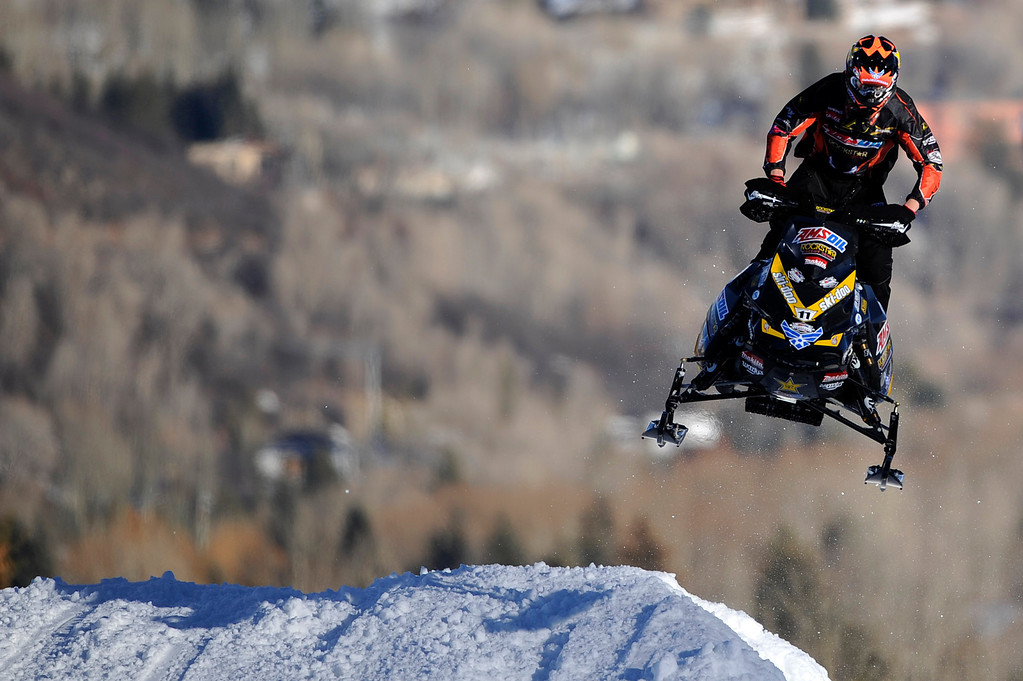 Description of . ASPEN, CO - January 27: Tim Tremblay races during the snowmobile SnoCross event at Winter X Games Aspen 2013 at Buttermilk Mountain on Jan. 27, 2013, in Aspen, Colorado. (Photo by Daniel Petty/The Denver Post)