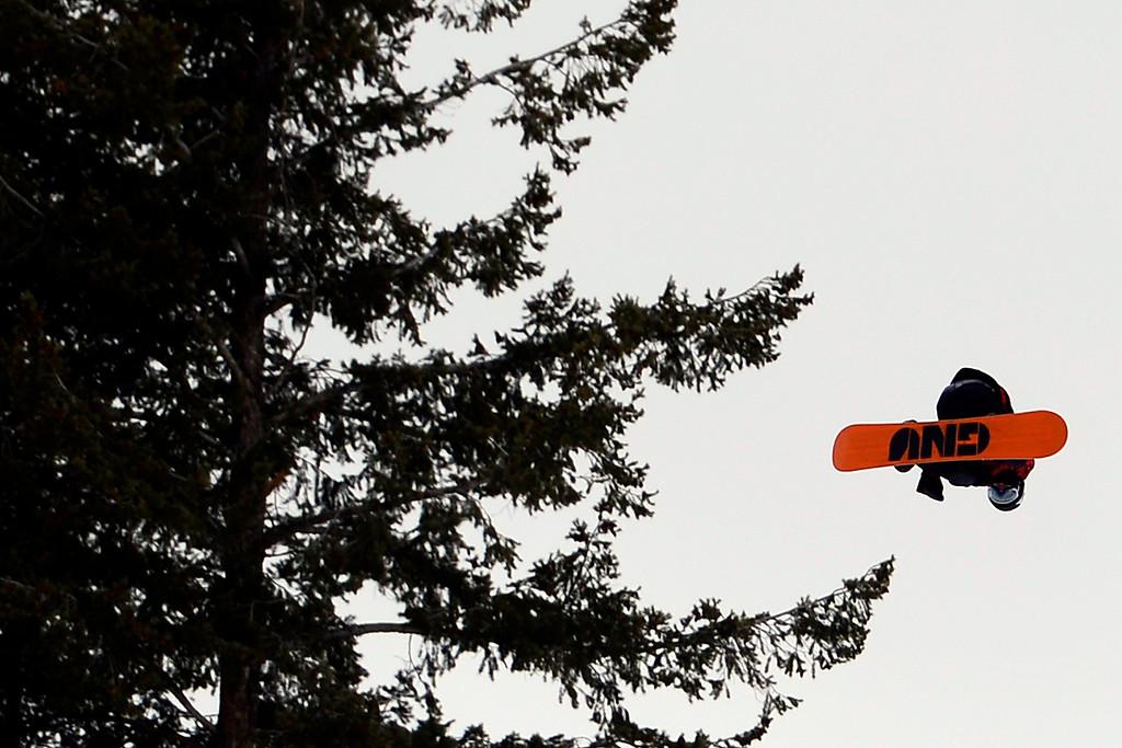 Description of . ASPEN, CO. - JANUARY 24: Ulrik Badertscher during the men's Snowboard Slopestyle elimination. Men's Snowboard Slopestyle elimination X Games Aspen Buttermilk Mountain Aspen January 24, 2013. (Photo By AAron Ontiveroz / The Denver Post)