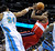 DENVER, CO - JANUARY 18: Denver center JaVale McGee tried to block a shot by Washington guard John Wall in the second half. The Washington Wizards defeated the Denver Nuggets 112-108 at the Pepsi Center Friday night, January 18, 2013. Karl Gehring/The Denver Post