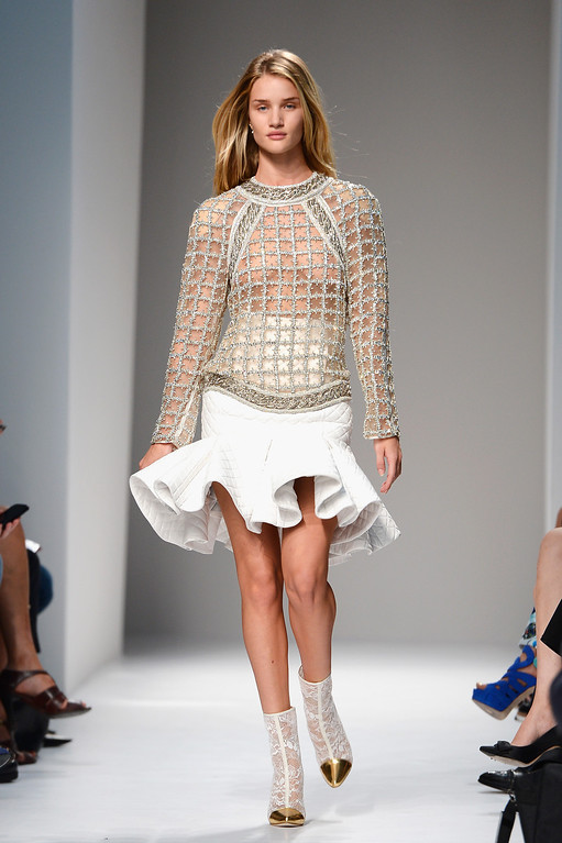 Description of . PARIS, FRANCE - SEPTEMBER 26:  A model walks the runway during Balmain show as part of the Paris Fashion Week Womenswear Spring/Summer 2013 at Grand Hotel Intercontinental  on September 26, 2013 in Paris, France.  (Photo by Pascal Le Segretain/Getty Images)
