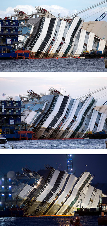 Description of . In this three-photo combo taken, from top, at 12.04gmt, 16.33gmt and 17.52gmt, the Costa Concordia ship lies on its side on the Tuscan Island of Giglio, Italy, Monday, Sept. 16, 2013. In an unprecedented maritime salvage operation, engineers on Monday gingerly wrestled the hull of the shipwrecked Costa Concordia off the Italian reef where the cruise ship has been stuck since January 2012. But progress was much slower than predicted and the delicate operation to rotate the luxury liner from its capsized position to upright appeared likely to stretch into Tuesday. Never before has such an enormous cruise ship been righted, and the crippled Concordia didn't budge for the first three hours after the operation began, engineer Sergio Girotto told reporters. (AP Photo/Andrew Medichini)