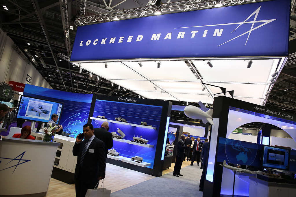 Description of . The Lockheed Martin stand at the Defense and Security Exhibition on September 10, 2013 in London, England.  (Photo by Peter Macdiarmid/Getty Images)