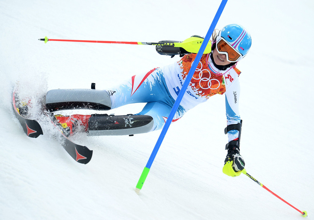 Description of . Bernadette Schild of Austria in action during the first run of the Women's Slalom race at the Rosa Khutor Alpine Center during the Sochi 2014 Olympic Games, Krasnaya Polyana, Russia, 21February 2014.  EPA/VASSIL DONEV