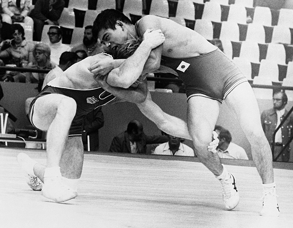 Description of . Dan Gable of the USA wins over Kikuo Wada of Japan, right, in their meet during Olympic Wrestling Tournament in Munich on August 30, 1972. (AP Photo)