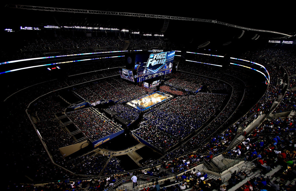 Description of . ARLINGTON, TX - APRIL 05:  A general view during the NCAA Men's Final Four Semifinal between the Kentucky Wildcats and the Wisconsin Badgers at AT&T Stadium on April 5, 2014 in Arlington, Texas.  (Photo by Ronald Martinez/Getty Images)