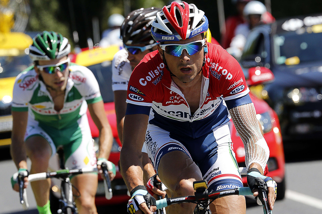 Description of . (From L) France's Jean Marc Marino, France's Christophe Riblon, and Netherlands' Johnny Hoogerland ride in the breakaway during the 195 km eighth stage of the 100th edition of the Tour de France cycling race on July 6, 2013 between Castres and Ax 3 Domaines, southwestern France.  PASCAL GUYOT/AFP/Getty Images