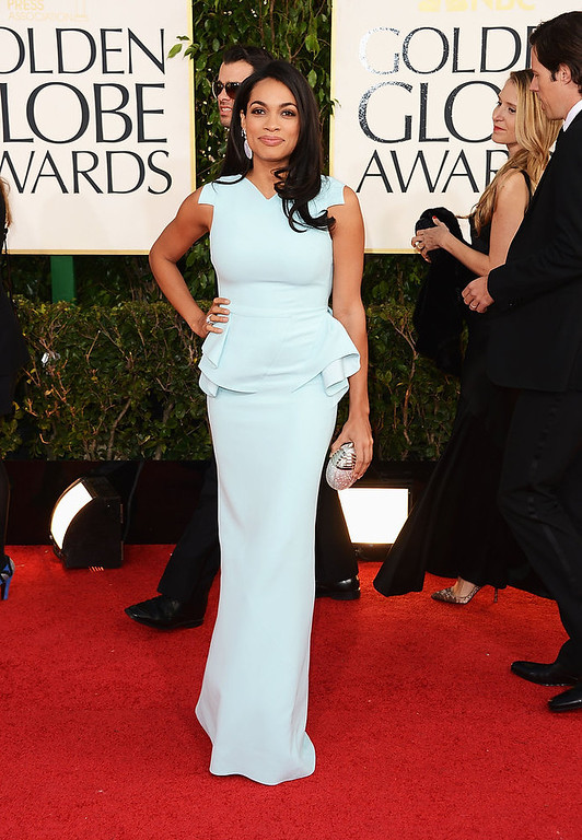 Description of . Actress Rosario Dawson arrives at the 70th Annual Golden Globe Awards held at The Beverly Hilton Hotel on January 13, 2013 in Beverly Hills, California.  (Photo by Jason Merritt/Getty Images)